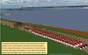 Conceptual illustration of Richard Lane's funeral procession