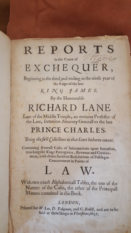 Title page of Richard Lane's book