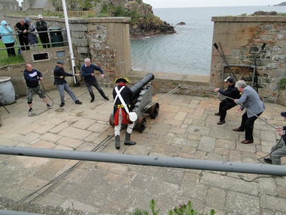 A cannon firing demonstration at the Elizabeth Castle, May 2017