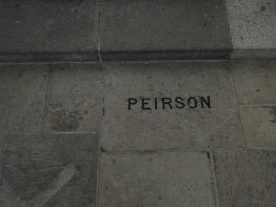 Peirson's tomb at the current foot of the altar area