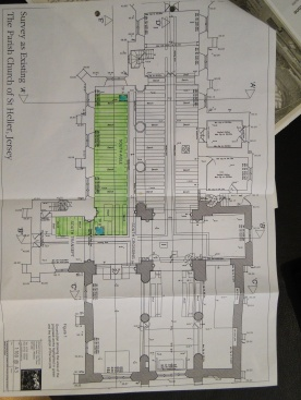 floor plans of the current church, with dig areas highlighted in green
