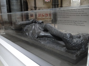 A cast effigy of a knight