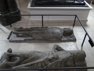 Stone knight effigies in the floor of the rotunda, Temple Church, London