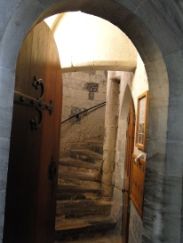 The door to the bell tower staircase