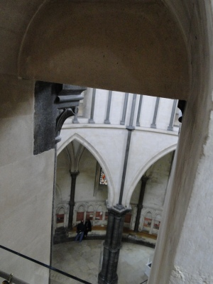 The view through a slit window from the gallery looking down onto the rotunda below