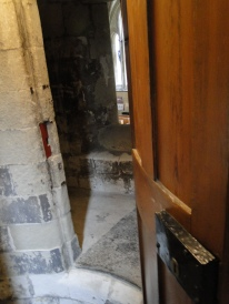 A hide I discovered in the spiral staircase with slit windows looking down into the church below