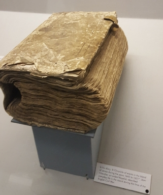 Jean Chevalier's diary, as displayed in the Jersey Museum, Saint Helier.