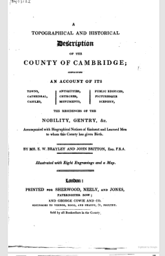 The title page from a 1820 book detailing the valuable historical objects in Cambrige County, England