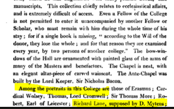 the section of the book describing the contents of the library at Corpus Christi in 1820. Richard Lane's portrait was listed as being part of the collection at that time.