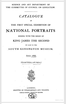 The cover page of a booklet created for the 1866 national portrait exhibition. This included portraits created through 1685.