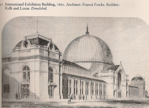 View of the East entrace to the Exhibition Building of 1862