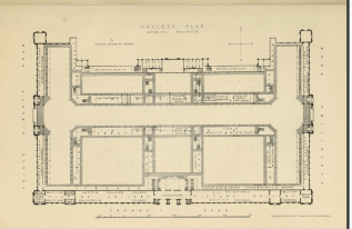 "Gallery plan of the Exhibition Building of 1862. Note the ""refreshment"" areas along the upper face of the building. These are all that would remain of this building by the time of the National Portrait Gallery of 1866."