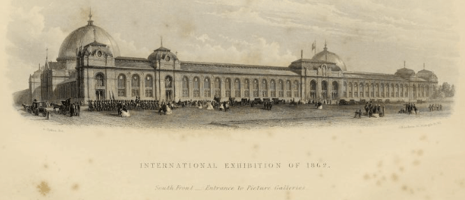 "Exhibit Building of the 1862 International Exhibition in South Kensington, London. Photo from ""The International Exhibition of 1862 the illustrated catalogue of the Industrial Department"""