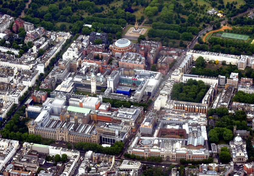 An arial view of these grounds in South Kensington today