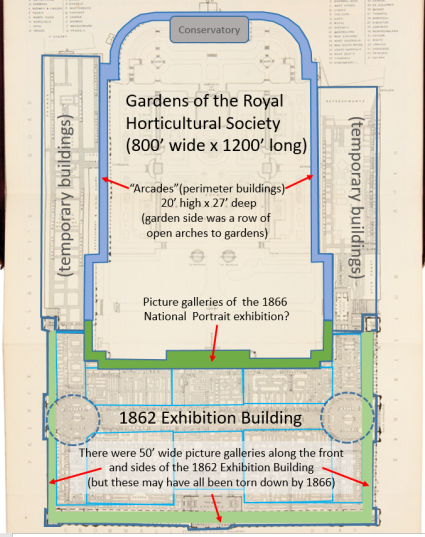 Spatial analysis of the grounds that would host the National Portrait Gallery of 1866