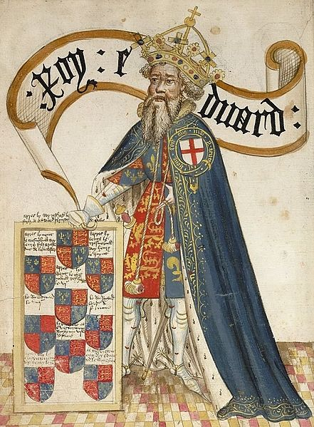 King Edward II wearing the mantle with the Noble Order of the Garter insignia on his left shoulder