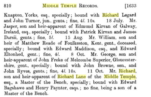 Middle Temple records of the admission of Richard Lane the younger