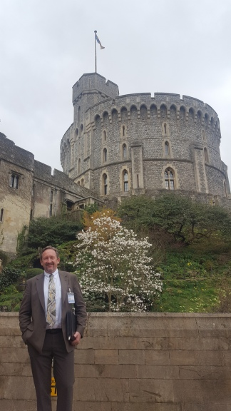 "The Queen's Collection Trust is housed in the ""Round Tower' behind me. Note that the flag is up, which means the Queen is in residence."