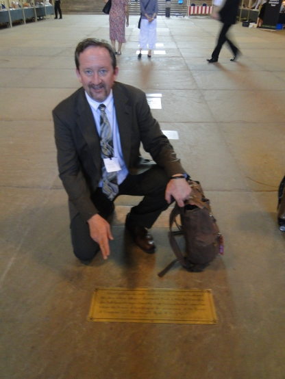 This brass plate marks the spot where Lord Strafford stood at his defense in the historic trial that took place in 1641. Sir Richard Lane stood about 5 feet to my left.