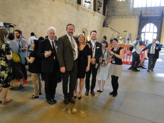 Standing with Malcolm, the Curator of the Parliamentary Art Collection (at left), and his staff at the very spot in the cavernous Westminster Hall where Lord Strafford stood at his trial in 1641. The brass plate at our feet commemorates that event.