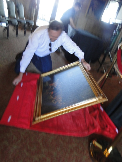 Unpackaging the replica painting from the excellent custom carrier Mary designed and created for it!