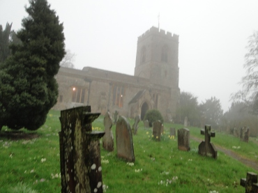 A chilly day of drizzle at the church in Courteenhall