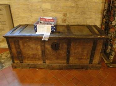 A 1700s chest in the church in Courteenhall