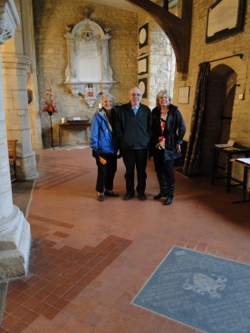 Patsy, Chris and Mary on the approximate site where Richard Lane's parents are buried in the floor of the St Peter and St Paul Church in Courteenhall