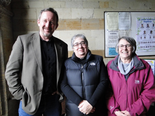"Me, Jane and Jenny in the entry ""porch"" of St John the Baptist Church in Kingsthorpe. The proposed location of the proposed memorial to Lady Margaret Lane would be on the wall behind me."