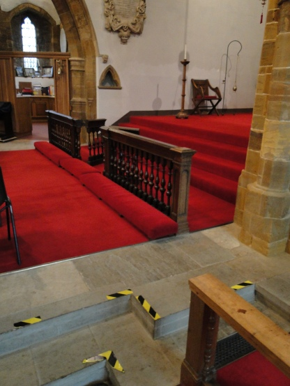 "Lady Margaret's tomb lies somewhere under the carpet ""near the communion rail"""