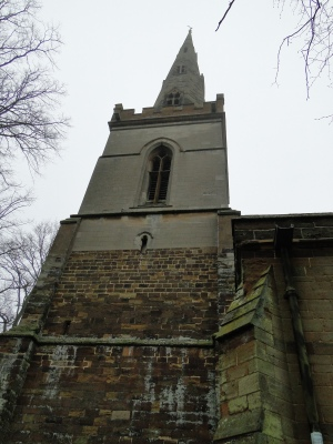 The fabulous bell tower and spire of the church in Kingsthorpe